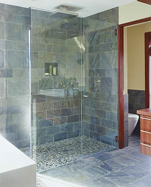 Slate subway in shower