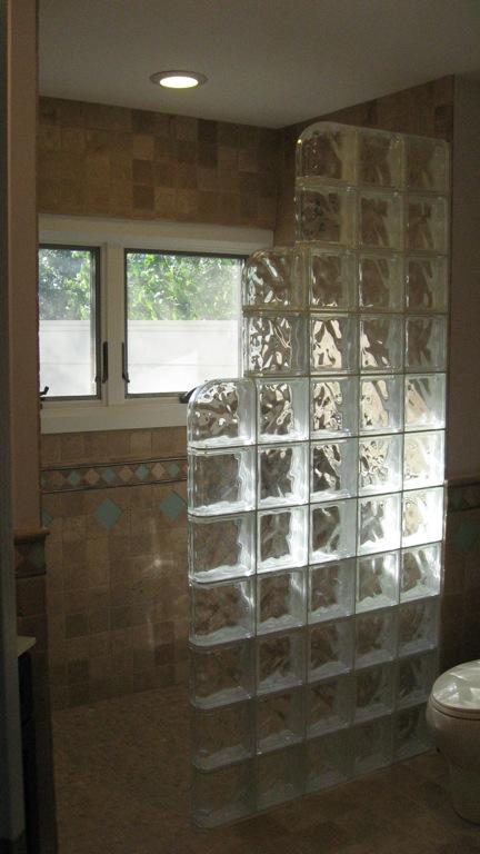 Walk in shower glass block